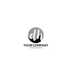 Circle dh logo design vector