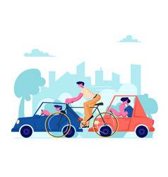 City life traffic people driving different vector