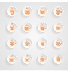 Coffee Mug Icons button shadows set vector