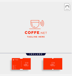 coffee wifi logo design cafe internet icon sign vector image