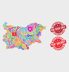 Collage safeguard bulgaria map and grunge vector