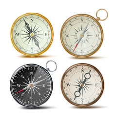 Compass set different colored compasses vector