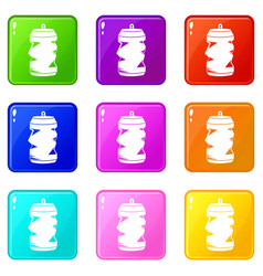 Crumpled aluminum cans icons 9 set vector