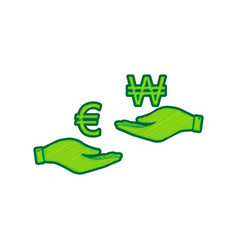 currency exchange from hand to hand euro and won vector image