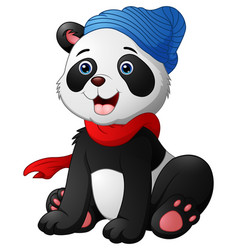 Cute cartoon panda sitting wearing a red scarf and vector