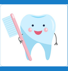 cute healthy tooth cartoon tooth character vector image