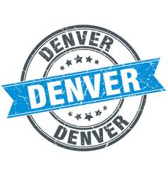 Denver blue round grunge vintage ribbon stamp vector