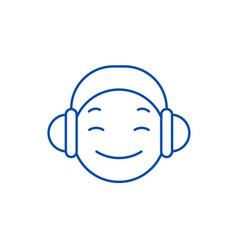 dj emoji line icon concept dj emoji flat vector image