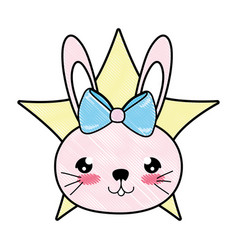 Doodle female rabbit head with ribbon bow and star vector