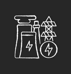 electricity industry chalk white icon on black vector image
