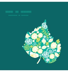 emerald flowerals leaf silhouette pattern vector image