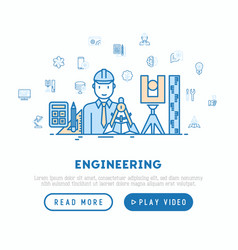 Engineer at work concept with thin line icons vector