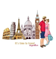 Europe Travel Tour Characters Composition vector
