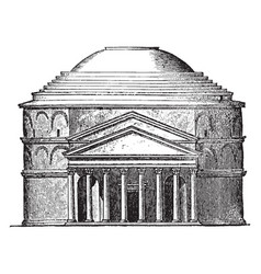 Facade of the pantheon at rome most important and vector