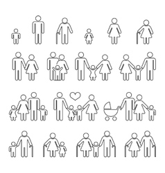 Family human thin line outline icons vector image