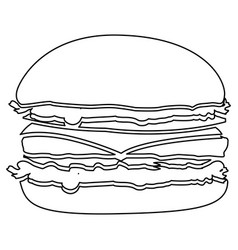 figure hamburger fast food icon vector image