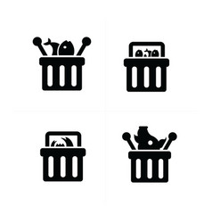 fresh food shopping cart icon set vector image