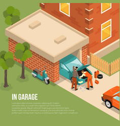 garage outside isometric vector image vector image