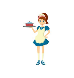 Girl housewife carries food on tray in a large cup vector