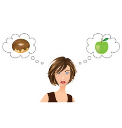 Girl thinking about food choice vector