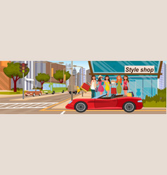Girlfriends shopping concept load into red car vector
