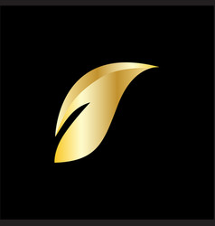 gold leaf beauty business logo vector image