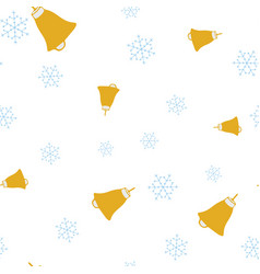 golden bells and snowflake seamless pattern vector image