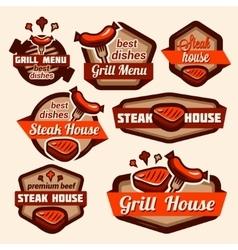 Grill logos set vector