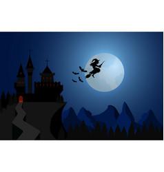 halloween witch flying under hills dark castle vector image