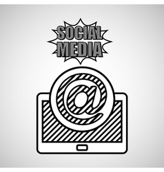 hand drawing mail social media mobile vector image
