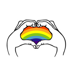hands heart rainbow lgbt vector image