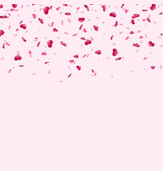 Heart falling confetti isolated pink background vector