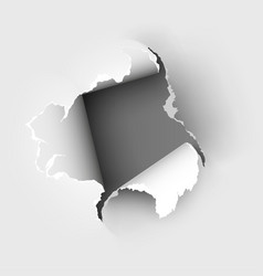 hole torn in ripped paper on white vector image