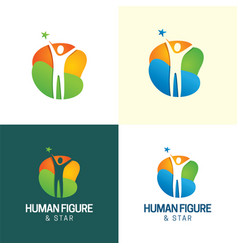 Human figure and star logo vector