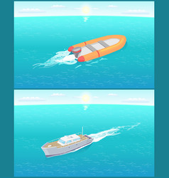 Inflatable rescue boat sailing in deep blue waters vector
