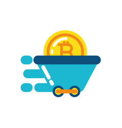 isolated bitcoin inside cart design vector image