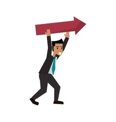 Isolated businessman avatar with arrow design vector