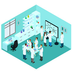 Isometric biological science laboratory template vector