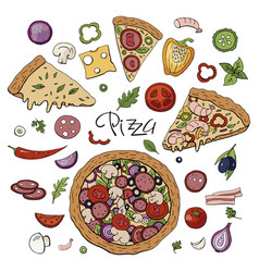 italian pizza and vegetables isolated on white vector image