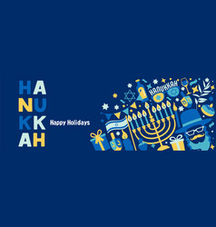 Jewish holiday hanukkah web banner dark blue set vector