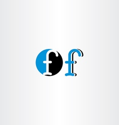 letter f blue black icon sign symbol element vector image