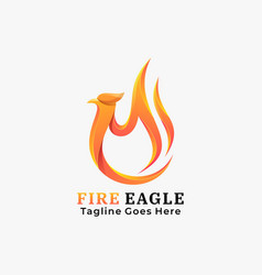logo fire eagle gradient colorful style vector image