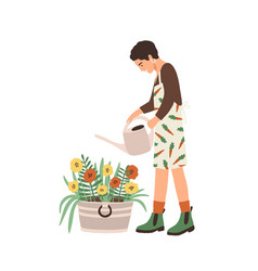 lovely young smiling woman or gardener taking care vector image