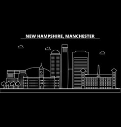 manchester silhouette skyline usa - manchester vector image