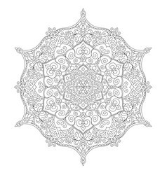Mandala coloring page flower design element for vector