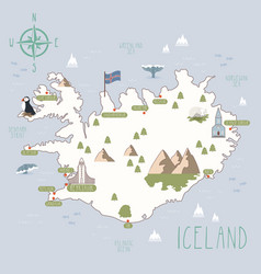 Map iceland vector