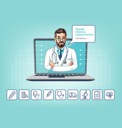 medical online consultation with doctor vector image