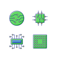 Microcircuits rgb color icons set vector