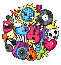 Music party kawaii design musical instruments vector