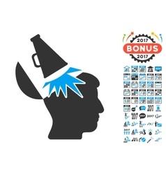 Open Mind Megaphone Icon With 2017 Year Bonus vector
